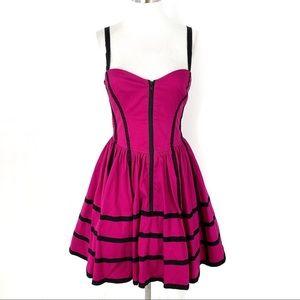 Betsey Johnson Fuchsia Zip Front Mini Party Dress